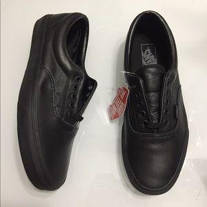 New Vans Era Triple Black Leather Skate Shoes Mono